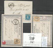 France - Lettres - GC197 - Aubagne - Bouches Du Rhone   - 3 Piéces Dont  2 Avec Gros Chiffre Refait - 1849-1876: Periodo Clásico