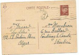 ENTIER 80C BRUN PETAIN CP MEC FLIER ALGER GARE 1941 POUR LA VENDEE - Biglietto Postale