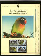 1996 Sambia/Zambia WWF Russköpfchen Und Sattelstorch/Stork-Lovebird 4 ** + 3 Blätter Beschreibung - Neufs