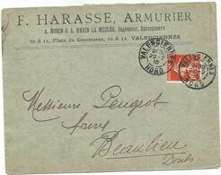 N°138 LETTRE DAGUIN VALENCIENNES 22.2.10 NORD - Marcophilie (Lettres)