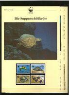 1995 St. Kitts WWF Suppenschildkröte/Green Turtle 4 ** + 3 Blätter Beschreibung - Neufs
