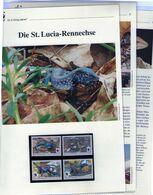 2008 St. Lucia WWF Rennechse/Whiptail 4 ** + 3 Blätter Beschreibung - Neufs