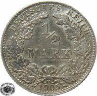 LaZooRo: Germany 1/2 Mark 1905 D XF / UNC - Silver - [ 2] 1871-1918: Deutsches Kaiserreich