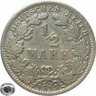 LaZooRo: Germany 1/2 Mark 1919 A XF / UNC - Silver - [ 2] 1871-1918: Deutsches Kaiserreich