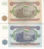 2 BILLETS TADJIKISTAN 1 ET 5 ROUBLE 1994 - Tadzjikistan