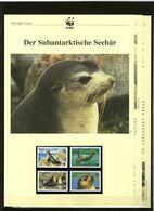 2004 Tristan Da Cunha WWF Subantarktische Seebär/Fur Seal 4 ** + 3 Blätter Beschreibung - Neufs