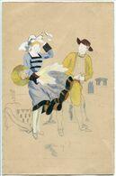 Dessin Peint Amateur (vers 1947) Inachevé Sur Papier Dessin : BRETAGNE Homme Femme Costumes - Sin Clasificación