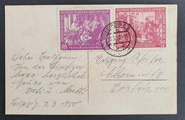 "DDR 1950, Postkarte ""Völkerschlachtdenkmal"" Mi 248-49 LEIPZIG - Covers & Documents"