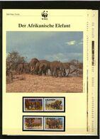 1991 Uganda WWF Der Afrikanische Elefant 4 ** + 3 Blätter Beschreibung - Neufs