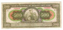 Peru 500 Soles 1952, F/VF. (W&S) , F/VF. Rare. - Peru