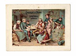 Chromo Chocolat Linth & Sprüngli, Zürich, Suisse, Chez Les Paysans, Env. 9,5 X 7 Cm - Autres