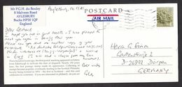 UK: Airmail Picture Postcard To Germany, 2001, 1 Stamp, Embossment, Art, E Rate, Small Air Label (minor Damage) - 1952-.... (Elizabeth II)