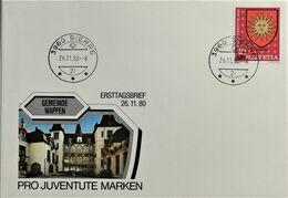 1980 FDC Gemeindeppen Mit Gemeindepoststempel 3960 Sierre - Brieven En Documenten