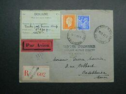 1945 Lettre Recommandée De Toulouse à Casablanca - Maroc Yvert 656, 697 Marianne Dulac Iris - 1944-45 Marianne (Dulac)