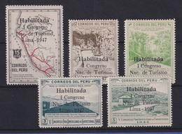 Peru 1947 Tourismus-Kongress In Lima  Mi.-Nr. 451-55 Satz 5 Werte * - Pérou