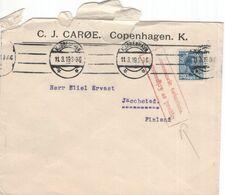 Denemarken - Denmark - Danmark - C.J. Caroe - Copenhagen - Jacobstad Finland - 1919 - Krigssensuren - Ganzsachen