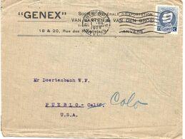 1925 - COB N° 213 SEUL Sur Lettre PUBLICITAIRE Envoi De ANTWERPEN Vers USA : 01/07/1925 - 1921-1925 Small Montenez