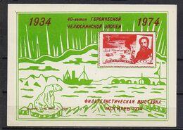 STAMP USSR RUSSIA Mint Block BF ** Local Souvenir Sheet 1974 Poster Chelyuskin Arctic North Pole Shmidt Mogilev - 1923-1991 USSR