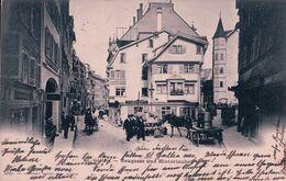 St Gallen, Neugasse Und Hinterlaube, Attelages Et Rue Animée (5025) - SG St. Gallen