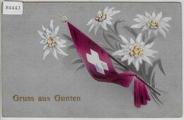 Gruss Aus Gunten - Schweizerfahne Und Edelweiss - BE Berne