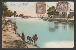 Egypt - 1909 - Very Rare - Vintage Post Card - Le Canal - Alexandria - 1866-1914 Khedivate Of Egypt