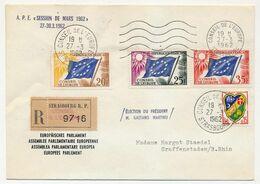 FRANCE - Env Reco, Affr 20F, 25F, 35F Drapeau + 0,15 Alger - Conseil De L'Europe 27/3/1962 - P.E. Session Mars 1962 - Lettres & Documents