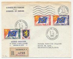 FRANCE - Env Reco, Affr 0,25, 0,30, 0,60 Drapeau + 0,15 Nevers - Conseil De L'Europe 3/5/1965 - Assemblée Consultative - Lettres & Documents