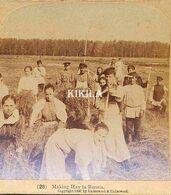 Photo Stéréoscopique (4) 7,7 X 8 Cm Carton Fort 17,7 X 8,8 Cm (28) La Récolte Du Foin En Russie - Stereoscopic