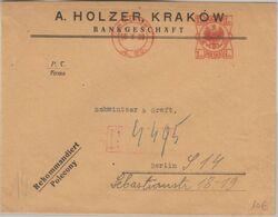 Polen - 1 Zl. Gebührenfreistempel Einschreibebrief Krakow - Berlin 1928 - Unclassified