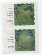 FRANCE Paire Timbre 3,00 Euros COUPE DU MONDE DE RUGBY 2007  Procédé Lenticulaire Autoadhésif - France