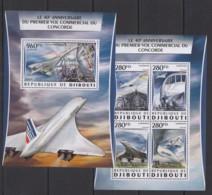 DJ038 2016 DJIBOUTI TRANSPORT AVIATION ANNIVERSARY CONCORDE KB+BL MNH - Concorde
