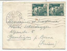 GANDON 2FR PAIRE MIGNONNETTE FERMEE PARIS 12.1.1946  POUR SUISSE AU TARIF - 1945-54 Maríanne De Gandon