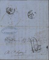 Grèce Andrinople 19 1 1860 Pour Lyon France CAD Constantinople Turquie 25 1 60 Grand Cachet Paquebot De La Méditerranée - ...-1861 Prefilatelia