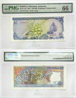 Maldives 50 Rufiyaa 1987 UNC Banknote SN:B743732 # 15 PMG66 - Maldiven