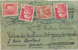 TAXE 3FR CANNES 1946 PETITE LETTRE SIMPLE TAXE REEXPEDIEE EN SUISSE AVEC GANDON 3FRX2+1FR MAZELIN NEUFS - Lettere Tassate