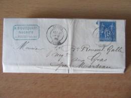 France - Lettre Russey Vers Les Gras (Doubs) - Timbre Sage 15c YT N°90 - 1880 - Storia Postale
