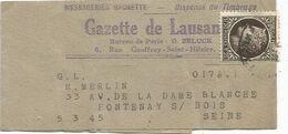 MAZELIN 1FR20 DEFAUT SEUL PETITE BANDE COMPLETE ??.5.3.1945 POUR LA SEINE - Storia Postale