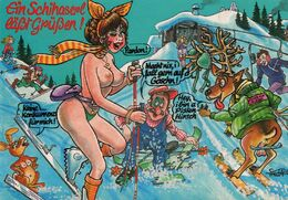 Ein Schihaserl Läßt Grüßen (Un Lapin De Ski Envoie Ses Salutations). Femme Seins Nus. Illustrateur : Trapa - Pin-Ups