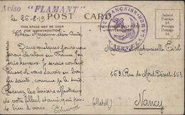 Cachet Marine Française Service à La Mer 26 8 1919 FM Cachet Aviso Flamant CPA The Hospital Grimsby - Storia Postale