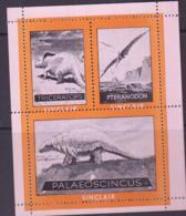 PREHISTORIC ANIMALS - CINDERELLA -  SINCLAIR LABEL SHEET OF 3 MNH - Prehistorics