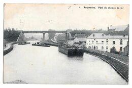 Arquennes Pont Du Chemin De Fer 4 Péniches 1912 - Seneffe