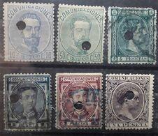 ESPANA ESPAGNE SPAIN, Telegrafo TELEGRAPHE,  6 Timbres Classiques Perforé Perfin Yvert 120,125,161,169,170,209, Bonne Co - 1872-73 Reino: Amadeo I