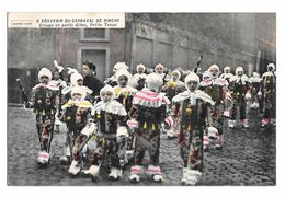 Souvenir Du Carnaval De Binche Groupe De Petits Gilles Petites Tenue Colorisée 1920 Edit Winance - Binche