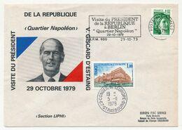 FRANCE - Env. Visite Président De La République à Berlin Quartier Napoléon - 29/10/1979 - OMEC BPM 600 + Conseil Europe - 1977-81 Sabine De Gandon