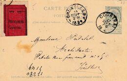 DDX633  -- Etiquettes Rares - Vignette Illustrée Tuiles Pottelberg 1894 Sur Entier Postal COURTRAI Vers Ixelles - Erinnofilie
