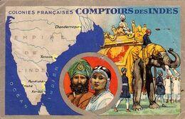 CP - Publicité Lion Noir - Colonies Françaises Comptoirs Des Indes - - Reclame