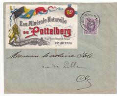 DDX636  -- Etiquettes Rares - SUPERBE Vignette Illustrée Eau Minérale Du Pottelberg COURTRAI 1924 S/Enveloppe TP Houyoux - Erinnofilie