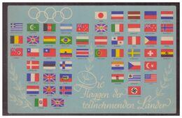 Dt- Reich (006582) Propagandakarte, Olympiade 1936 Berlin, Die Flaggen Der Teilnehmenden Länder, Ungebraucht - Briefe U. Dokumente