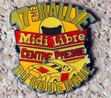 Pin's 17° Rallye Du ROUERGUE Pub Midi Libre Centre Presse 1996 - Verni époxy - Fabricant Inconnu - Rallye