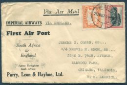 1932 South Africa / USA Via England. Imperial Airways, First Flight Johannnesburg - Chicago. Parry, Leon & Hayhoe Cover - Posta Aerea
